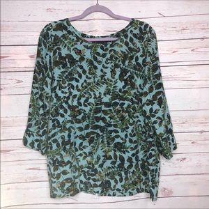 J. Jill Button Up Back Leaf Print Pullover Top M